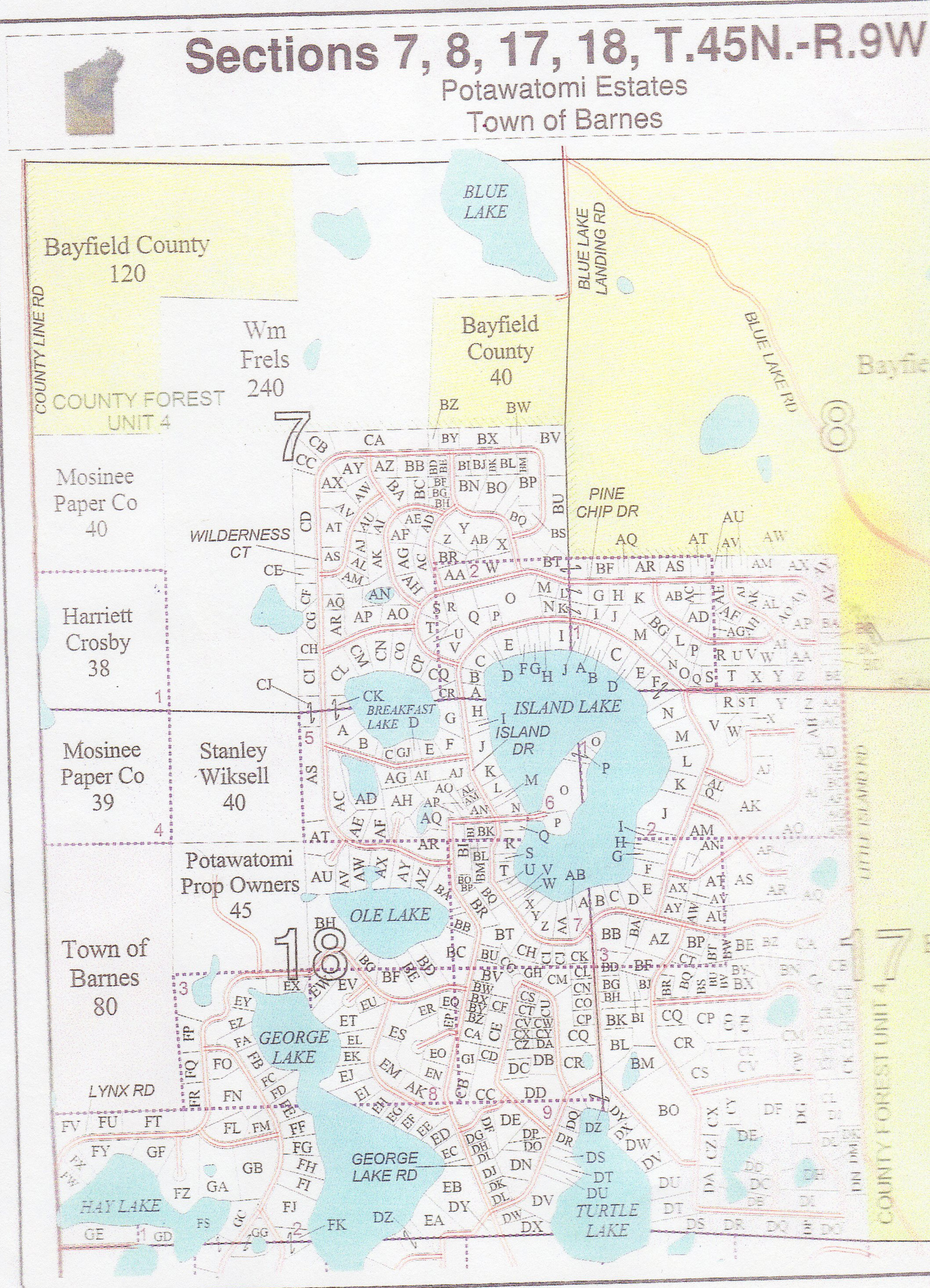 Potawatomi Estates Land Map 2